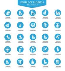 Set of Businessman icons,Blue version,vector