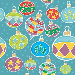 vector illustration with seamless christmas globes