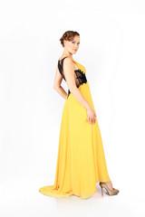 elegant woman in yellow dress