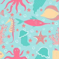 Cartoon style sea world seamless pattern