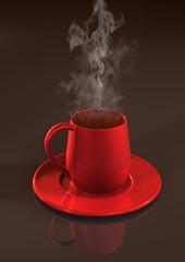 Becher Kaffee - Tasse Rot