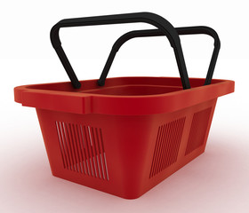Empty red plastic shopping basket.