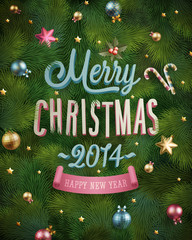 Wall Mural - Christmas poster with fir tree texture. Vector illustration.