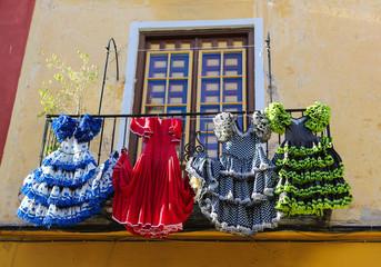 Colorful Flamenco dresses in Spain