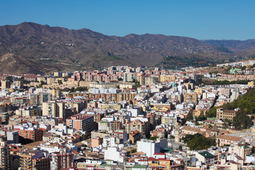 View on the famous city of Malaga, Spain.