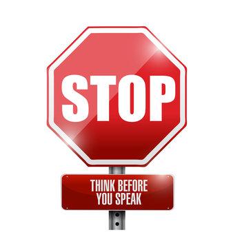 stop think before you speak sign illustration