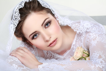 Wall Mural - Portrait of beautiful bride. Wedding dress. Wedding decoration