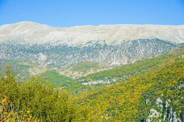 Greece landscape view of Metsovo and ipeiros mountains at a wint
