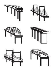 Various bridges in perspective - vector illustration