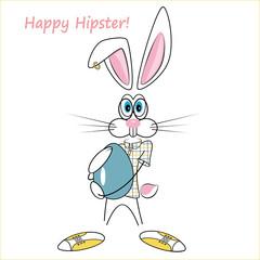 cartoon hipster rabbit