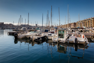 Boats and Yachts in the Old Port of Marseille, France