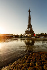 Eiffel Tower and Cobbled Embankment of Seine River at Sunrise, P