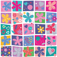 cute hearts and flowers pattern on colorful squares background