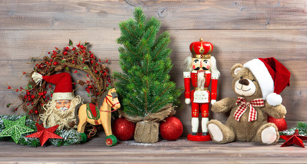 christmas decoration with antique toys teddy bear