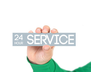 woman holding a label with 24h service