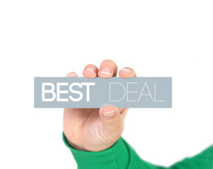 woman holding a label with best deal