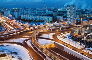 road junction in the streets of Moscow in winter night
