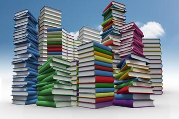 Piles of books against sky