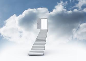 Open door at top of stairs in the sky