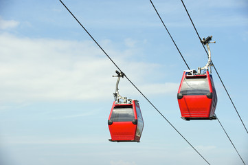 Red Overhead Cable Cars Blue Sky Wall mural