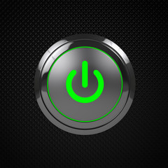 Green LED power button on black background.