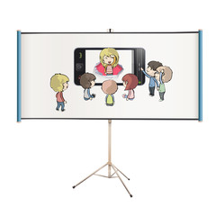 Kids around phone projected on white screen