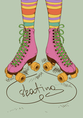 Illustration with girl's legs and retro roller skates