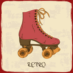 Illustration with retro roller skates