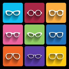 Glasses frame icons. Vector illustration.
