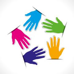 colorful hand arrange in pentagonal  shape vector