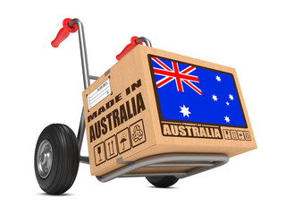 Made in Australia - Cardboard Box on Hand Truck.