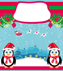 christmas holiday background with santa claus ,reindeer and cute