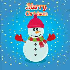 Vector cartoon snowman. merry christmas card background