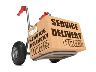 Service Delivery - Cardboard Box on Hand Truck.