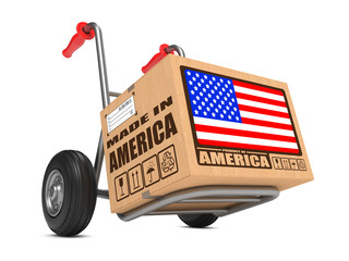 Made in USA - Cardboard Box on Hand Truck.
