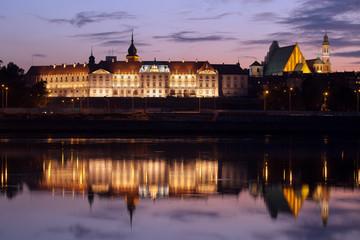 Royal Castle and Vistula River at Twilight in Warsaw