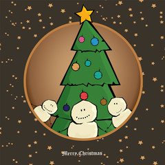 Vector comic cartoon merry christmas illustration with snowman