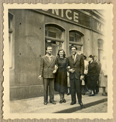 CIRCA 1955 - friends before old Prague pub