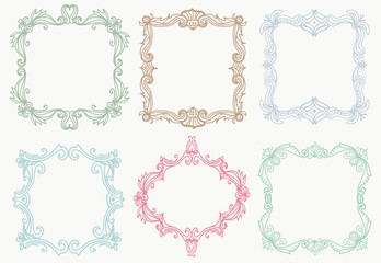 Collection of detailed decorative hand drawn frames