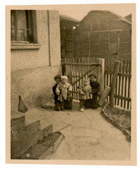 Children at the gate of the house plot - circa 1945