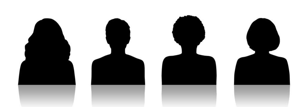 women id silhouette portraits set 1