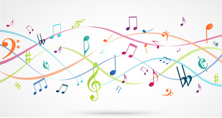 Abstract Background with Colorful Music notes Wall mural