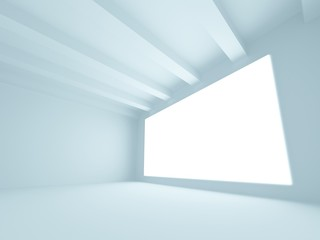 Empty blue room interior with white screen. 3d render