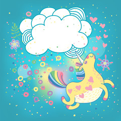 Unicorn rainbow in the clouds