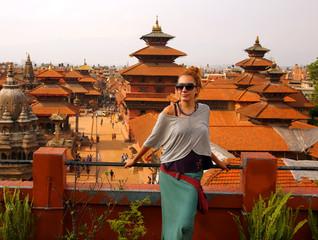 Tourist girl at Patan Square, Kathmandu, Nepal