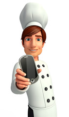 Chef  with mobile