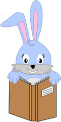 bunny rabbit holding book