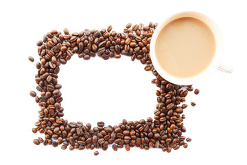 picture frame was created by coffee beans and cup