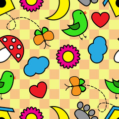 Cartoon seamless pattern with flora and fauna