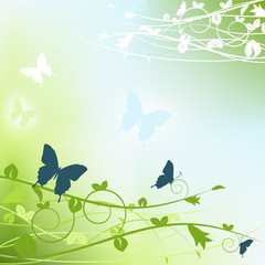 Flower background with butterfly. Vector illustration